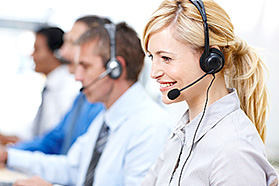 Woman in a call center.